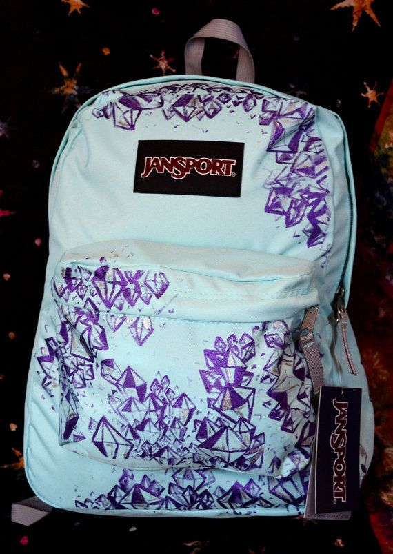 Hand Painted Crystal Jansport Backpack | Bags, Puppys and Hand painted
