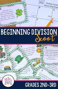 These fun and engaging Saint Patrick's day task card are a great way for your second and third grade students to review division word problems!