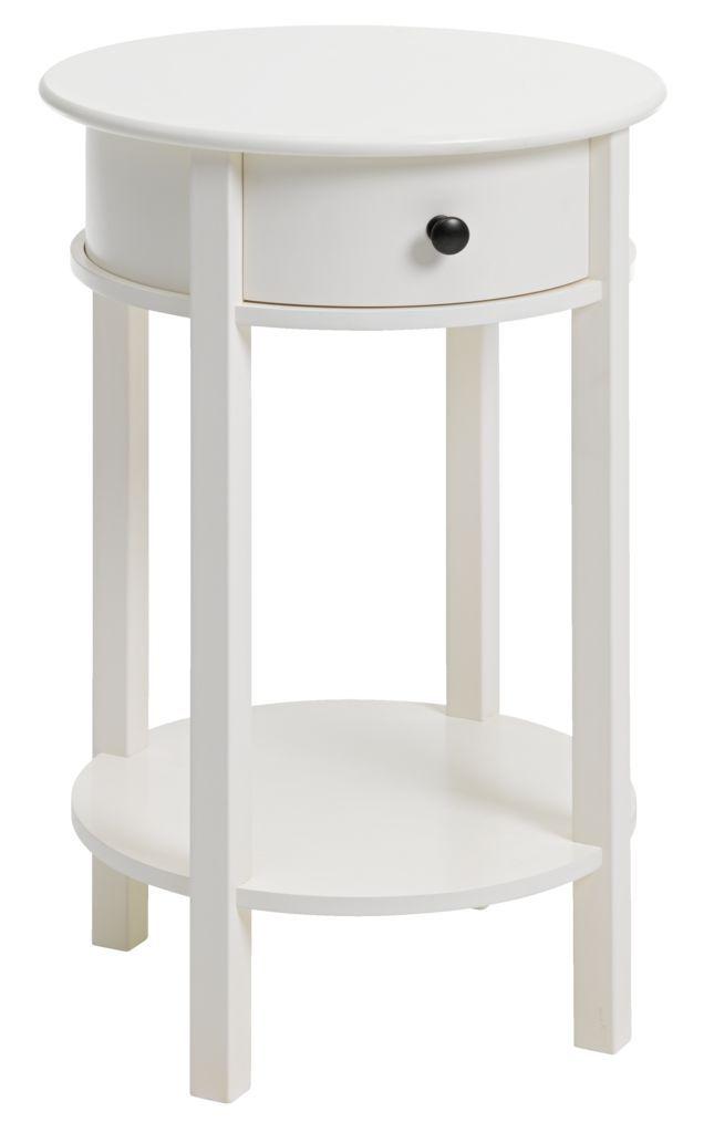 Sangbord Egeby 1 Lada Vit Small Round Bedside Table Bedside Table Design Bedside Table