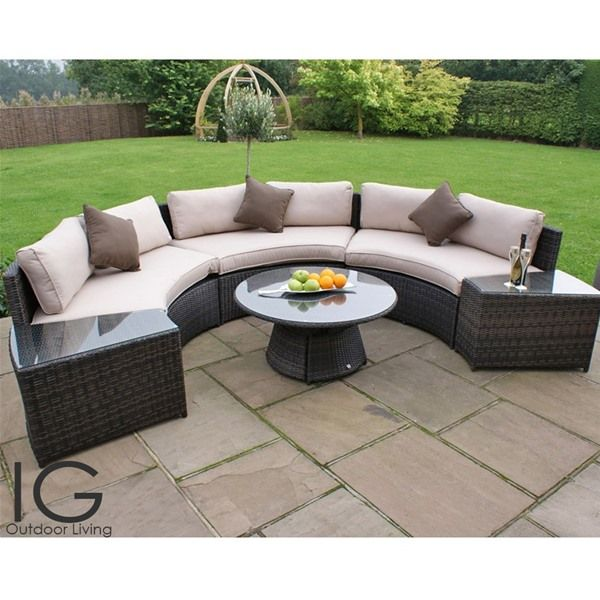 Half Moon Curved Garden Sofa Set