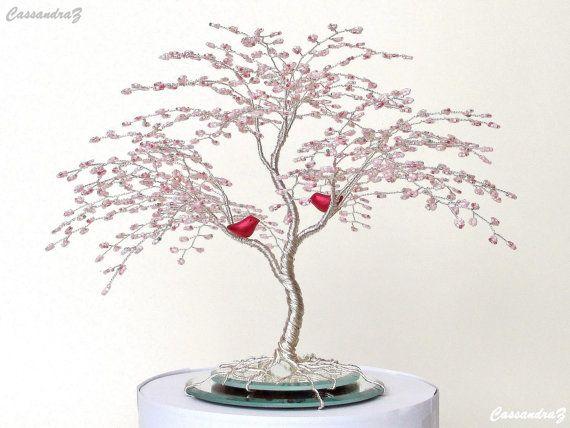 Love Birds in a Cherry Blossom Wire Tree Wedding Cake Topper ...