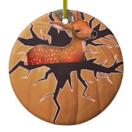 #Pumpkin Deer Ceramic Ornament - #Halloween happy halloween #festival #party #holiday
