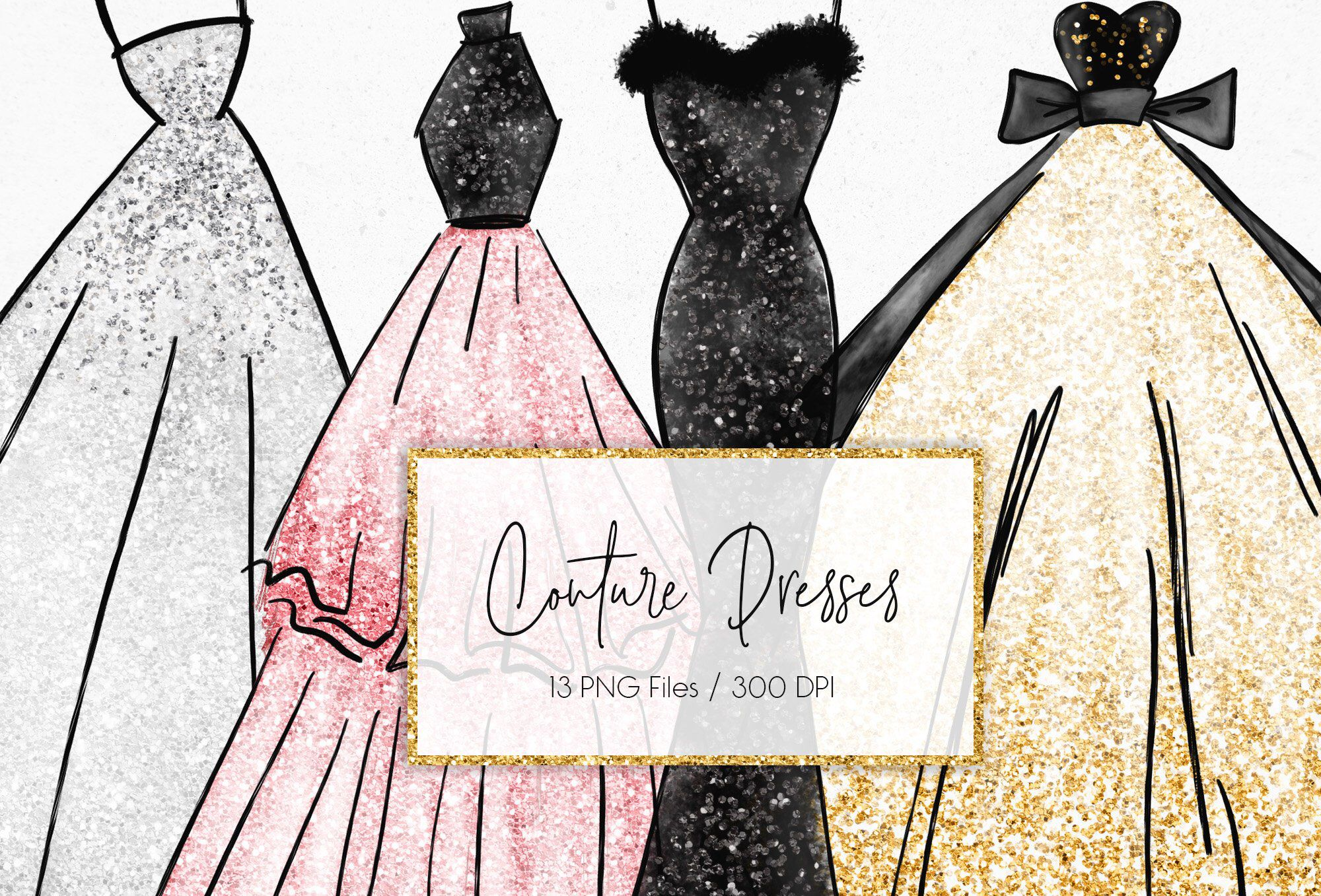 Buy 3 Pay For 2 Couture Dresses Clipart Gold Silver Glitter