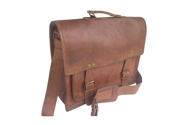 Distressed Leather Satchel 16