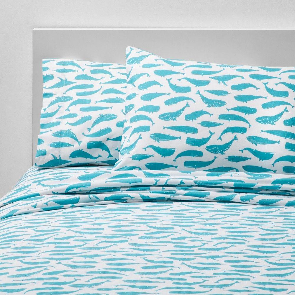 4pc Full Friendly Fins Cotton Sheet Set Blue Pillowfort Cotton