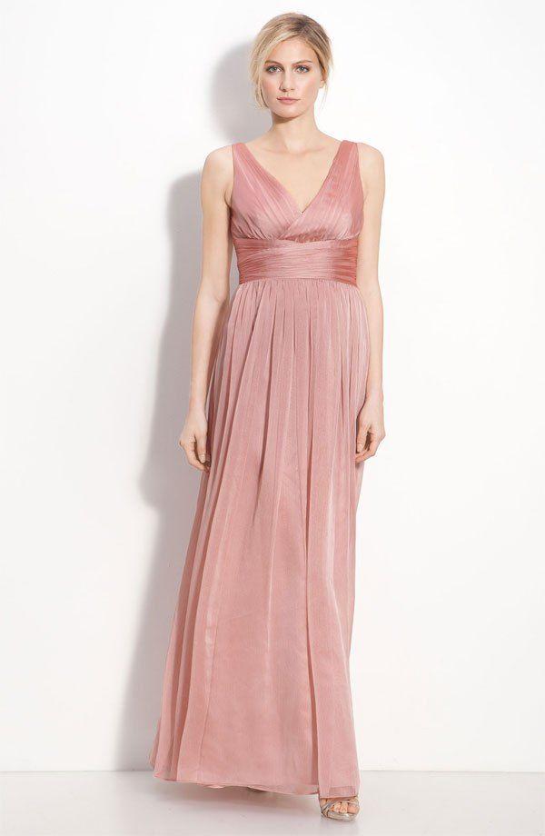 Monique Lhuillier Bridesmaids Sleeveless Ruched Chiffon Dress ...