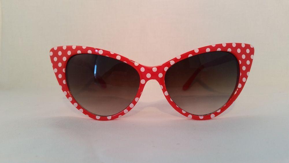 Vintage Retro Red Sunglasses Cat eye Women's two tone elegant White polka dots #Unknown #CatEye