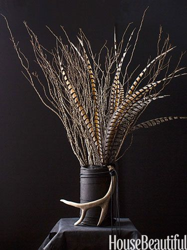 Festive centerpieces pheasant feathers and