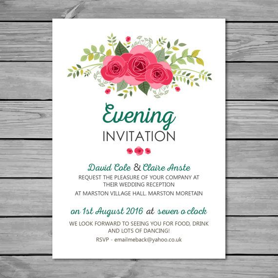 Diy Printable Wedding Reception Invitation A6 105mm X 148mm Digital Evening Retro Vintage Style Stationary