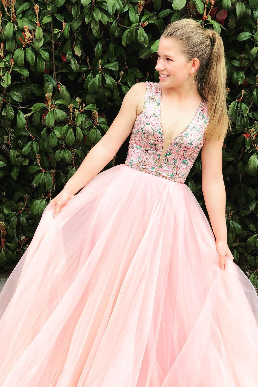 Unique v neck pink tulle long prom dress cuteedgy outfits