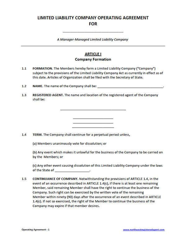 Free Manager Managed Llc Operating Agreement Template Rental Agreement Templates Llc Business Agreement