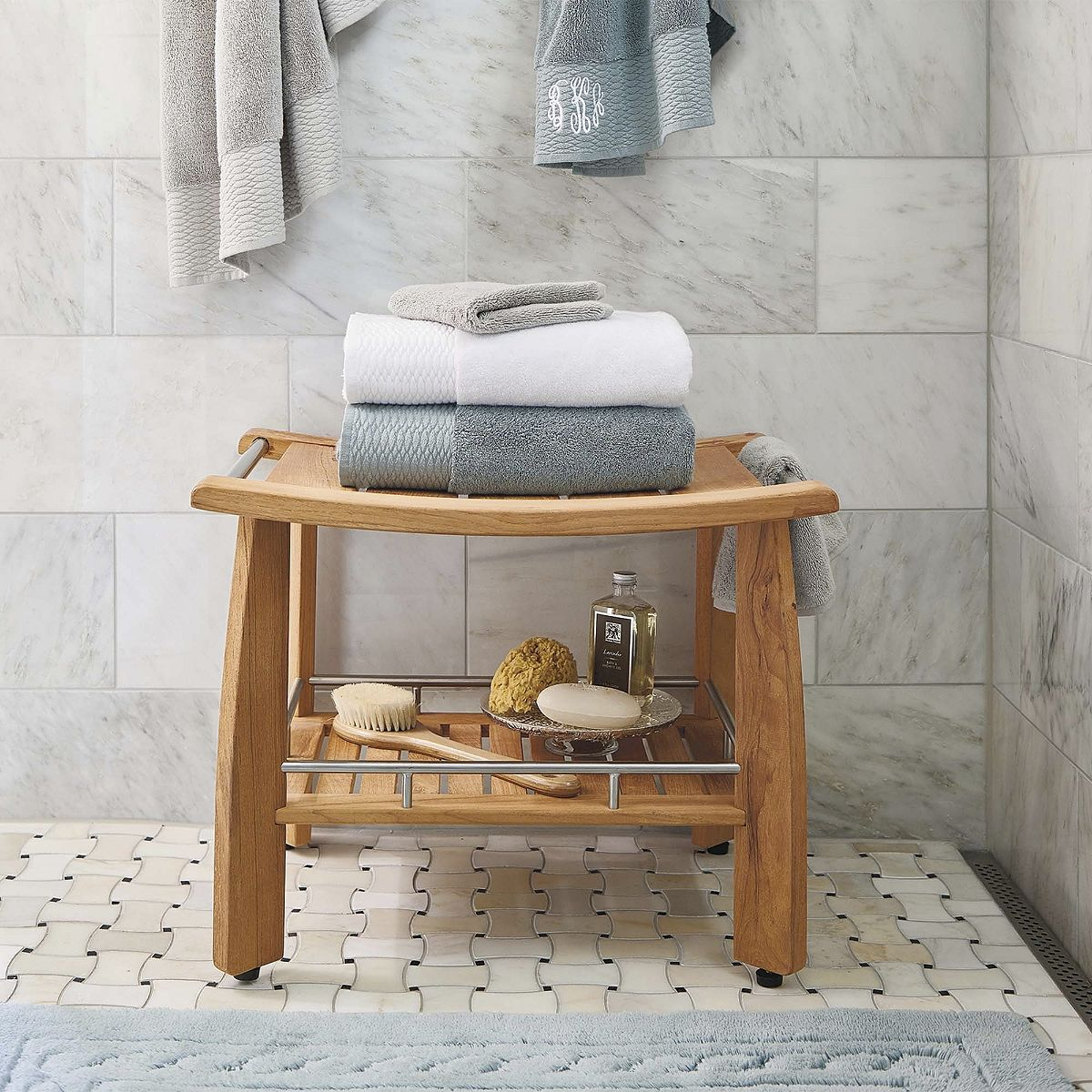 Designed by Frontgate, our Teak Shower Bench with Shelf combines ...
