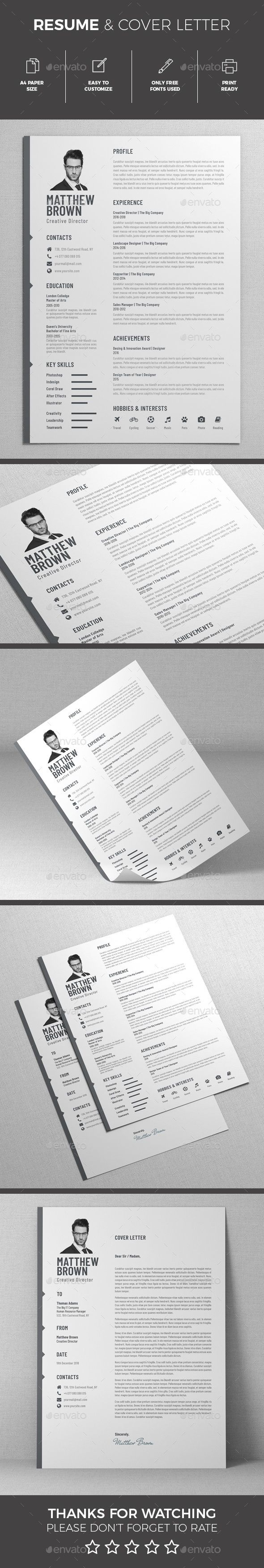 Resume Template InDesign INDD, MS Word Easy To Customize