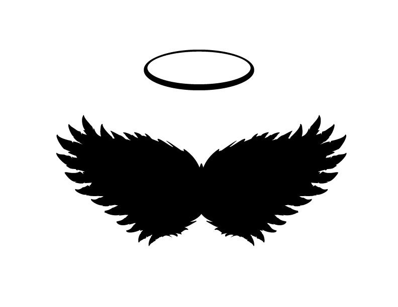 Black Angel Wings And Halo Vector Png And Jpgs Included Black Angel Wings Wings Angel