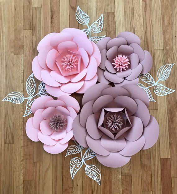 4 piece set nursery paper flowers color customizable - Como hacer flores de papel ...