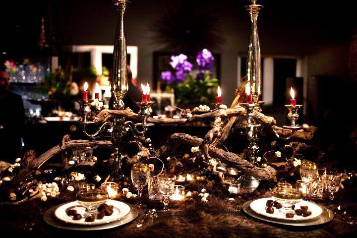 Amazing table setting by Eric Hildebrand using fur! (Hopefully faux)