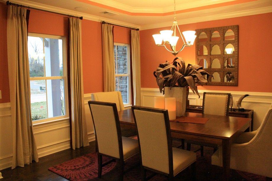 Orange dining room cream orange dining dining room for Orange dining room ideas