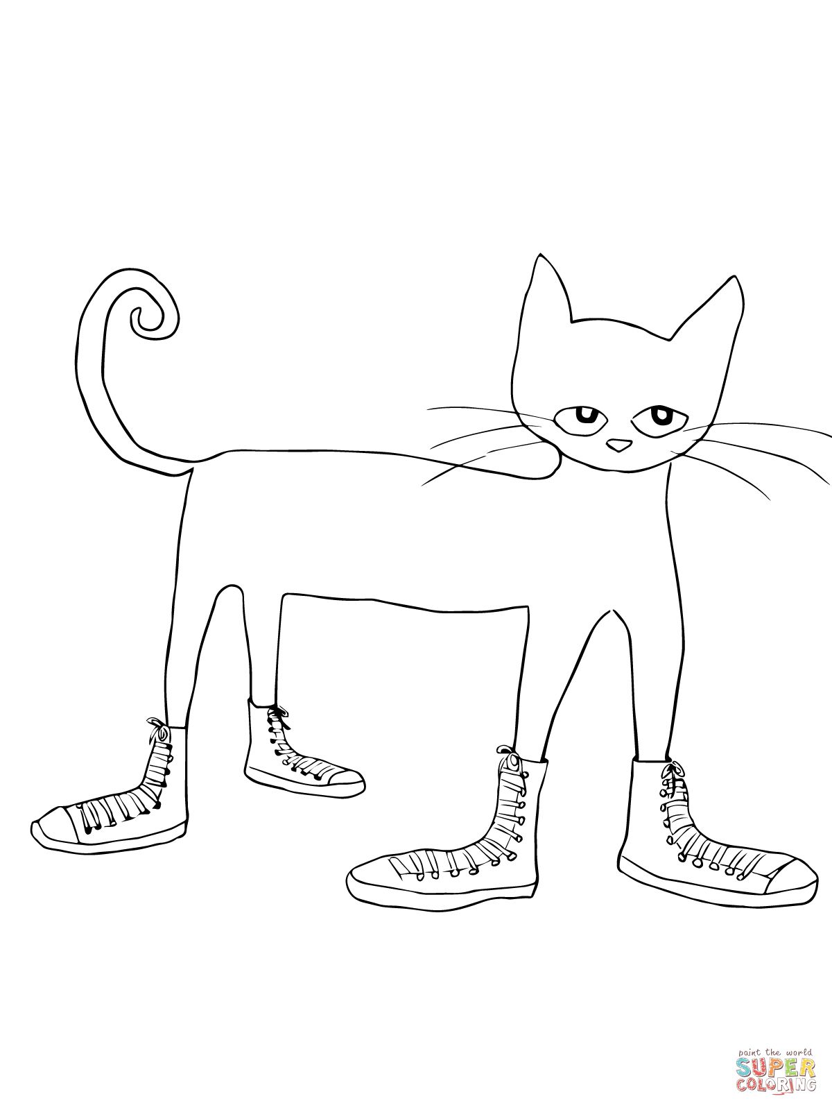 Pete The Cat I Love My White Shoes Coloring Page Supercoloring