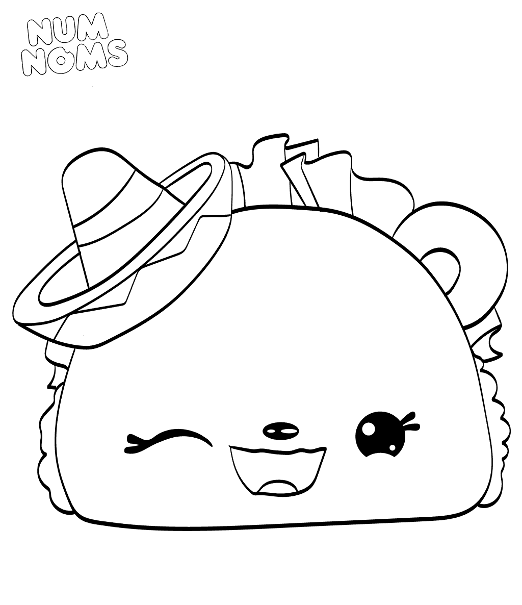 Coloring pages num noms tasty taco