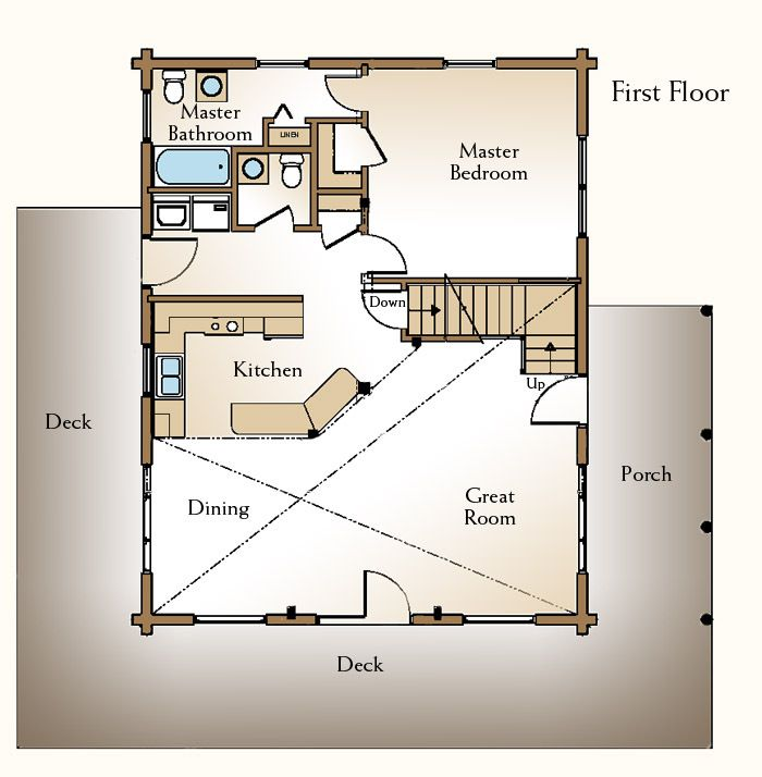 On The Second Story A Loft Space Can Serve Multiple Purposes Description From Reallogstyle Com I Cabin Plans With Loft Loft Floor Plans Log Home Floor Plans