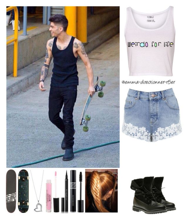 """Skateboarding with Zayn"" by emma-directionner-r5er ❤ liked on Polyvore featuring Miss Selfridge, Timberland, Christian Dior, Givenchy and Stila"