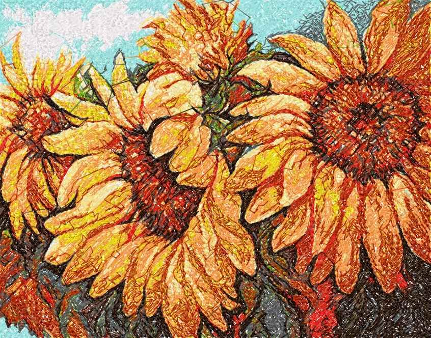 Sunflowers photo stitch free embroidery design 15 - Photo stitch embroidery designs - Machine embroidery community