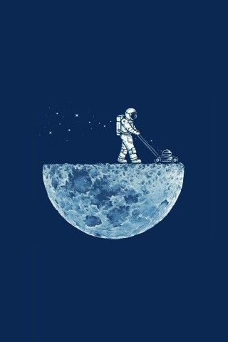 Astronaut Mowing The Moon Iphone 5 Wallpaper Wallpapers
