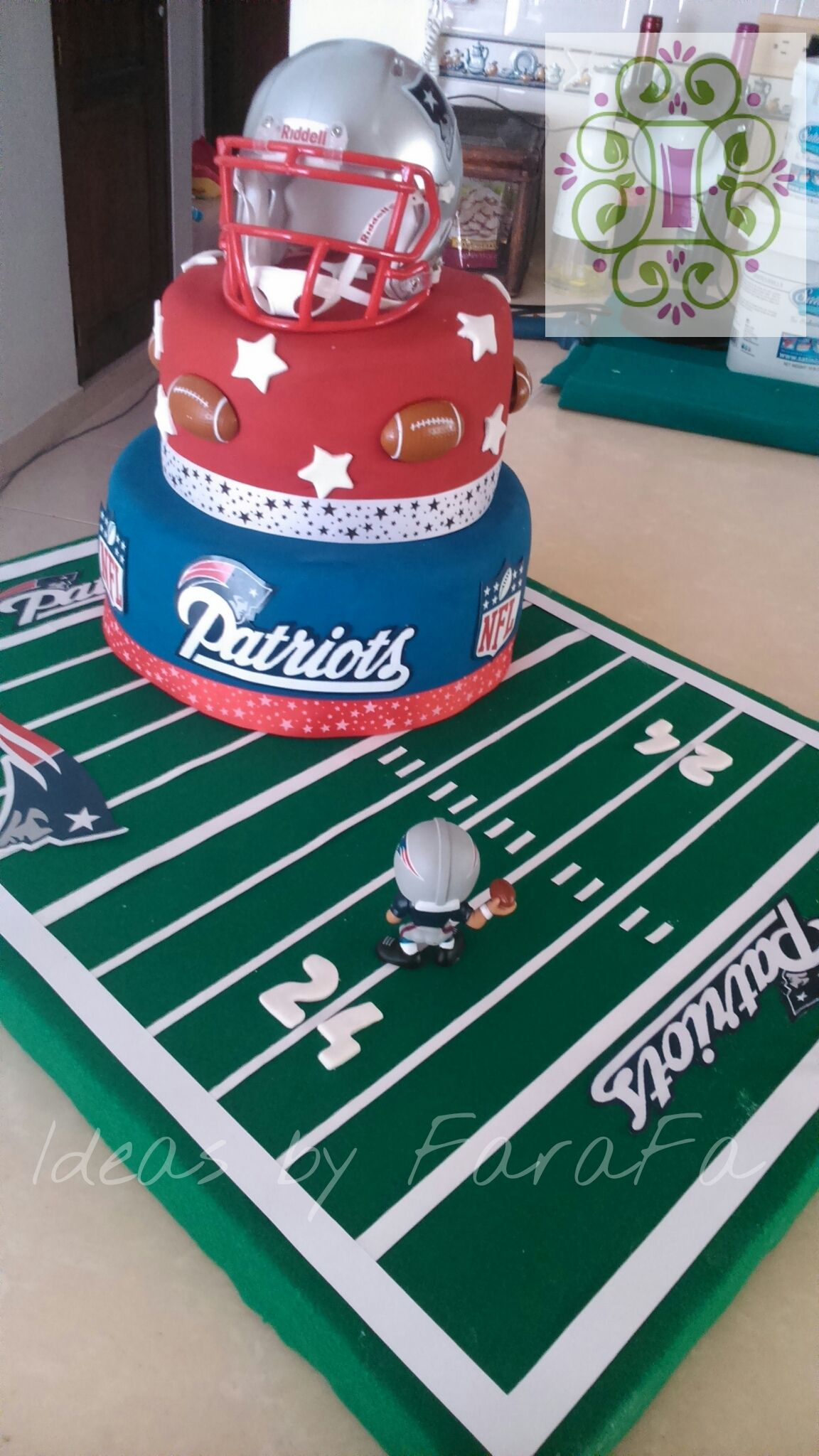 New England Patriots Cake Ver En Ideas By Farafa En Facebook Patriotic Cake Football Birthday Party Football Cake