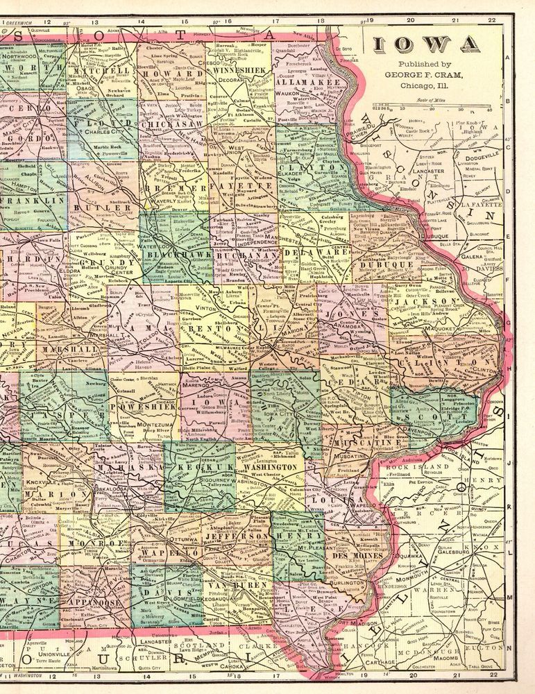 1901 Antique Iowa Map 1900s Vintage Atlas Map Of Iowa State Map