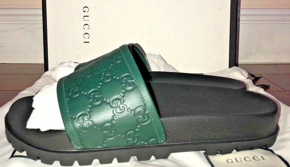 Men's Gucci Leather Green Signature \