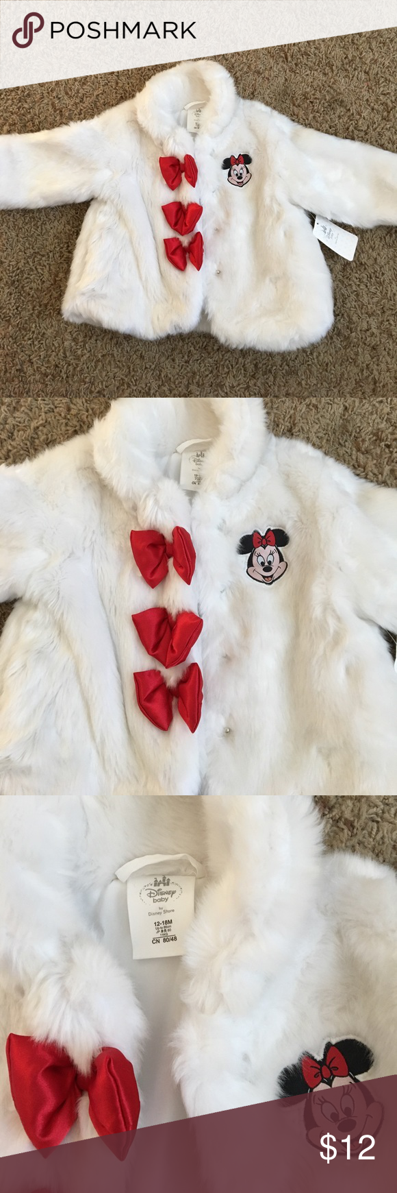 32c3582852b Disney Baby Minnie Mouse Faux Fur Coat NEVER BEEN WORN Faux Fur Minnie Mouse  White Coat with Red Bow Button Embellishments with Minnie Patch sewn on the  ...
