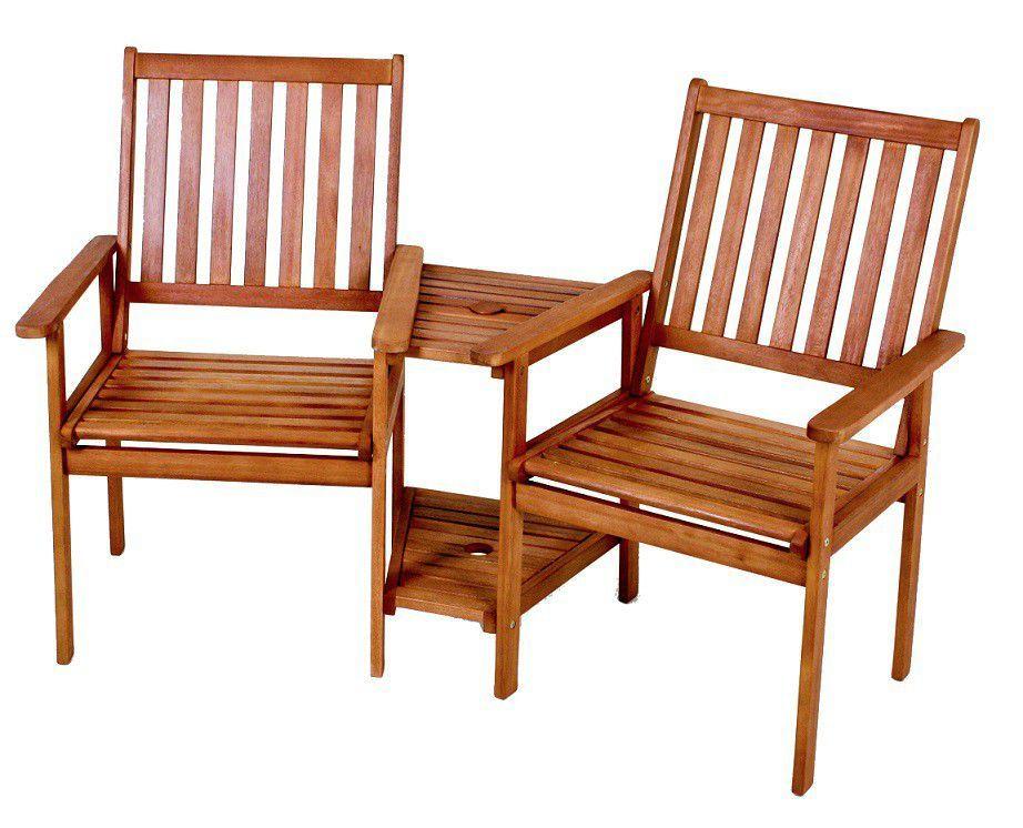 Doppelsessel Edison Mit Tisch Und Ablageflache Eukalyptus Gartenstuhle Aussenmobel Gartenbank