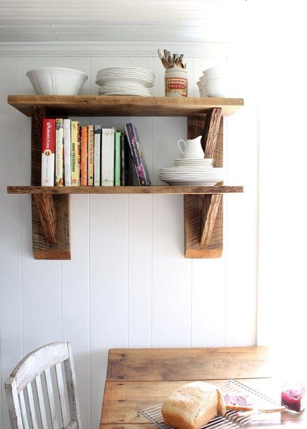 DIY Deko Ideen aus wiedergewonnenem Holz Altholz küche