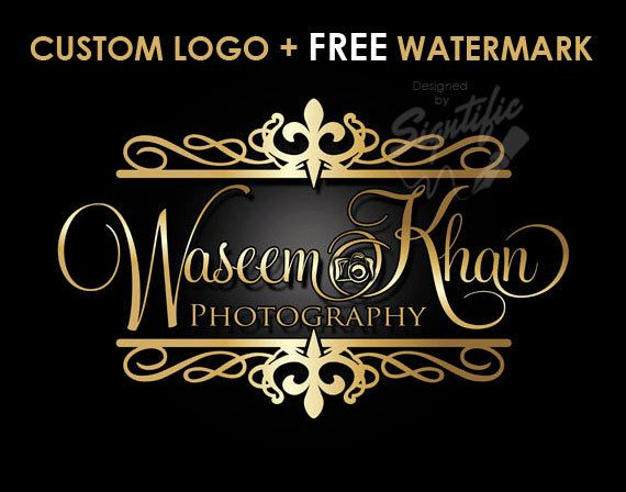 Photography Camera Logo, FREE watermark, Gold Frame and