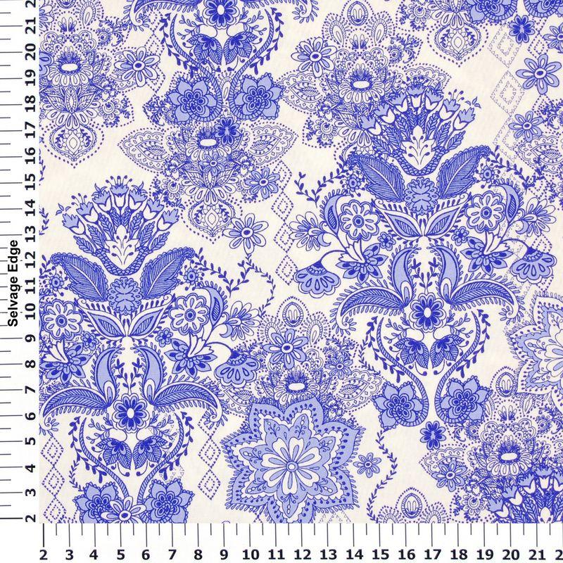 very pretty blue 'damask' pattern fabric