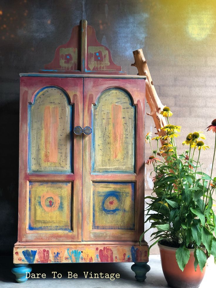 Boho Morrocan Style Cabinet created with clay chalk paint #claypaint #debisdesigndiary #morrocanstyle #bohostyle #furnituremakeover