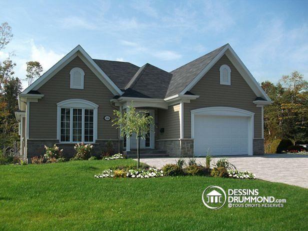 W3206-V1 - Plain-pied de style champêtre craftsman avec plancher à - site pour plan de maison