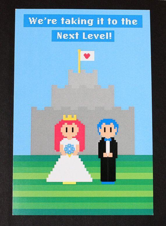 8 bit wedding invitation video game wedding invitation nerd wedding invitation your - Nerdy Wedding Invitations