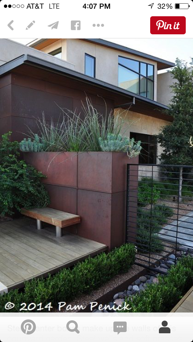 Repeating The Design And Elements In Allens Exterior Steel Planter Boxes Echo Ones Next To Our Parking Area Make Up Walls Of This Courtyard