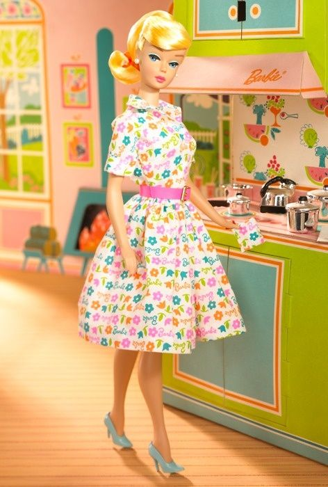 vintage Barbie in retro kitchen