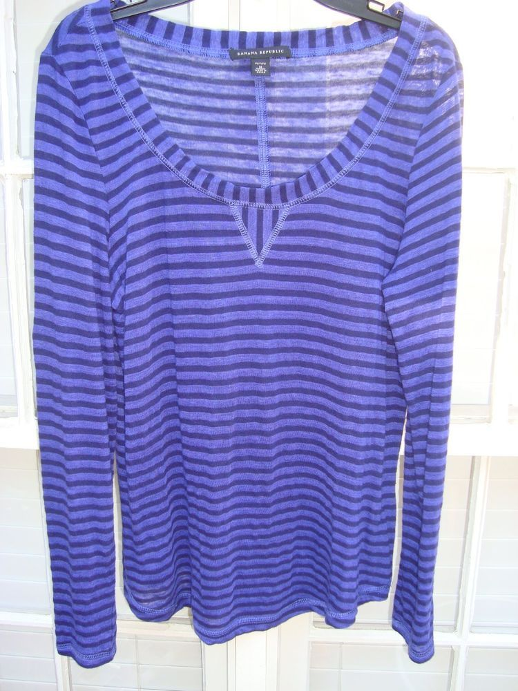 f1f43c35e6 Banana Republic Petite PM Striped Blue and Black Linen Blend Long Sleeve Top   fashion  clothing  shoes  accessories  womensclothing  tops (ebay link)