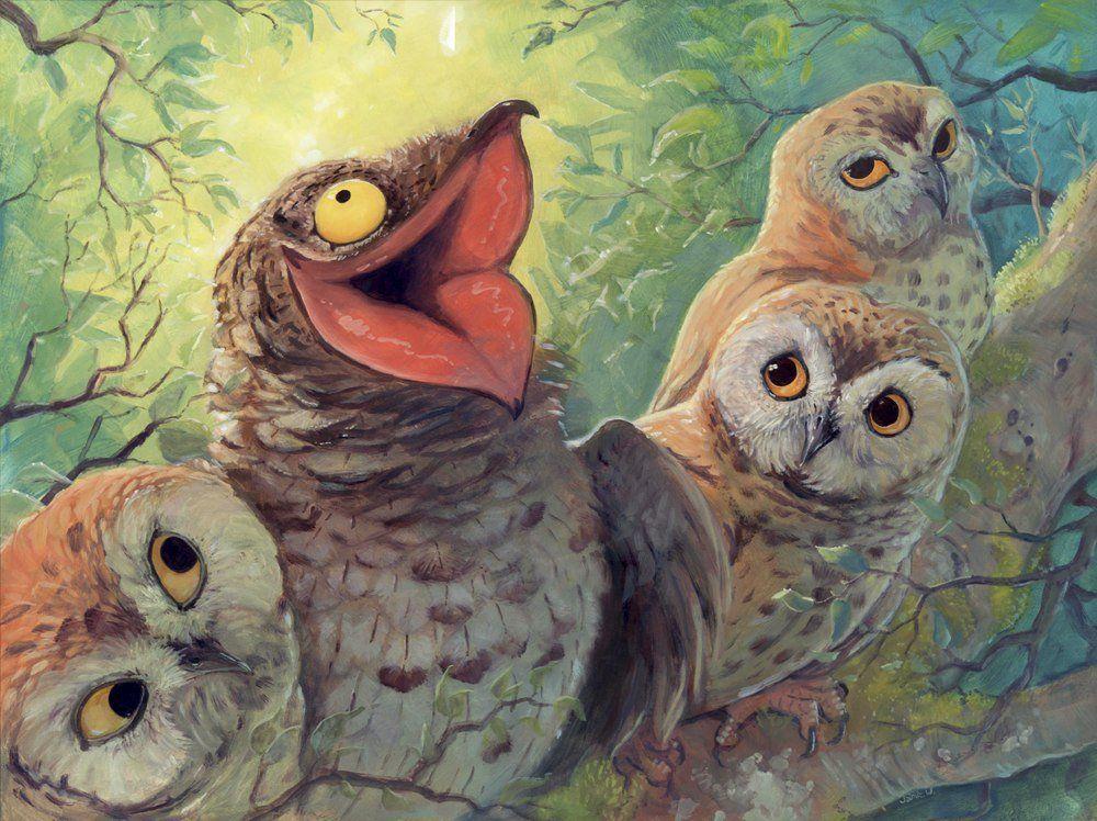 Смешные рисунки птицы, поднятием