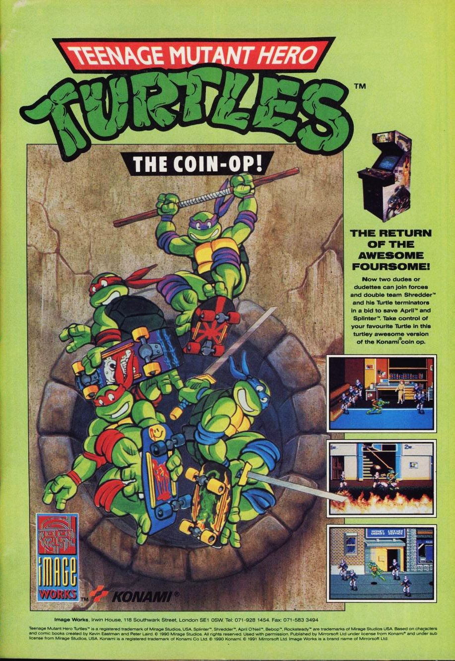 Vintage Teenage Mutant Hero Turtles TMNT Framed Picture Art 1990/'s Cartoon