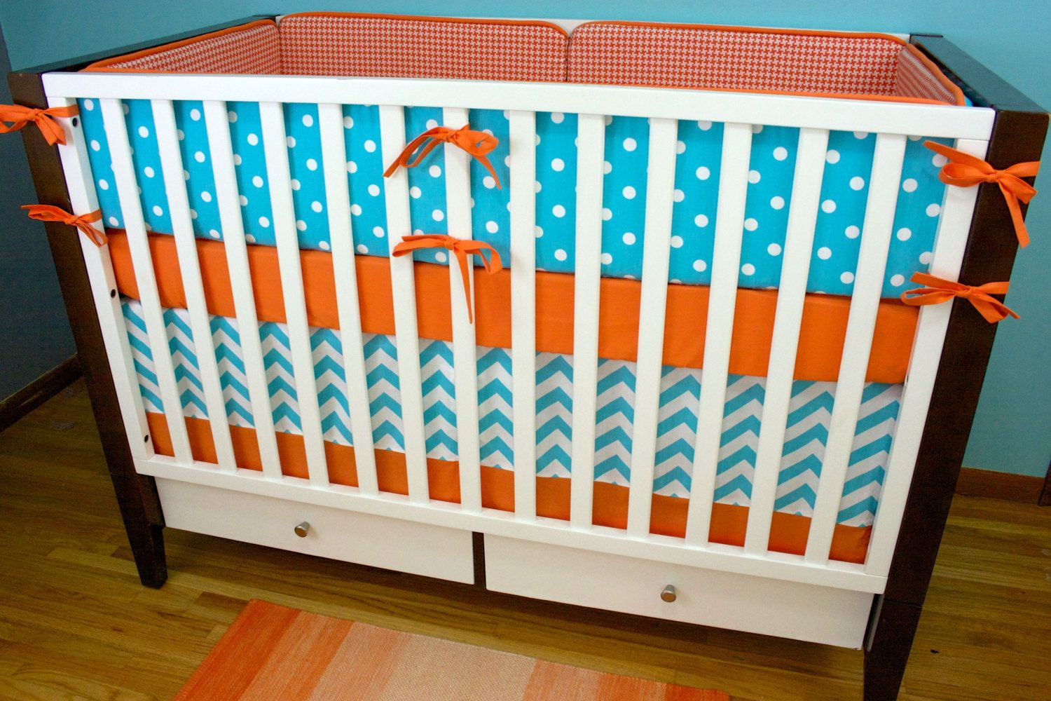 Crib Bedding Baby Bedding Orange and Aqua Crib Set by modifiedtot