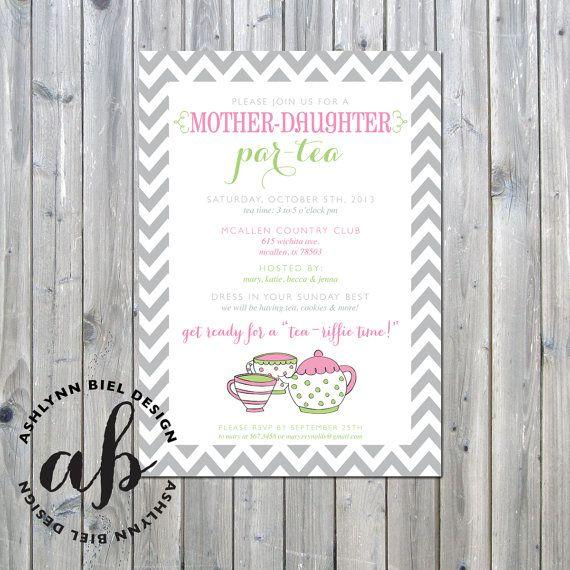 Printable MotherDaughter ParTea Invitations Printable Digital File