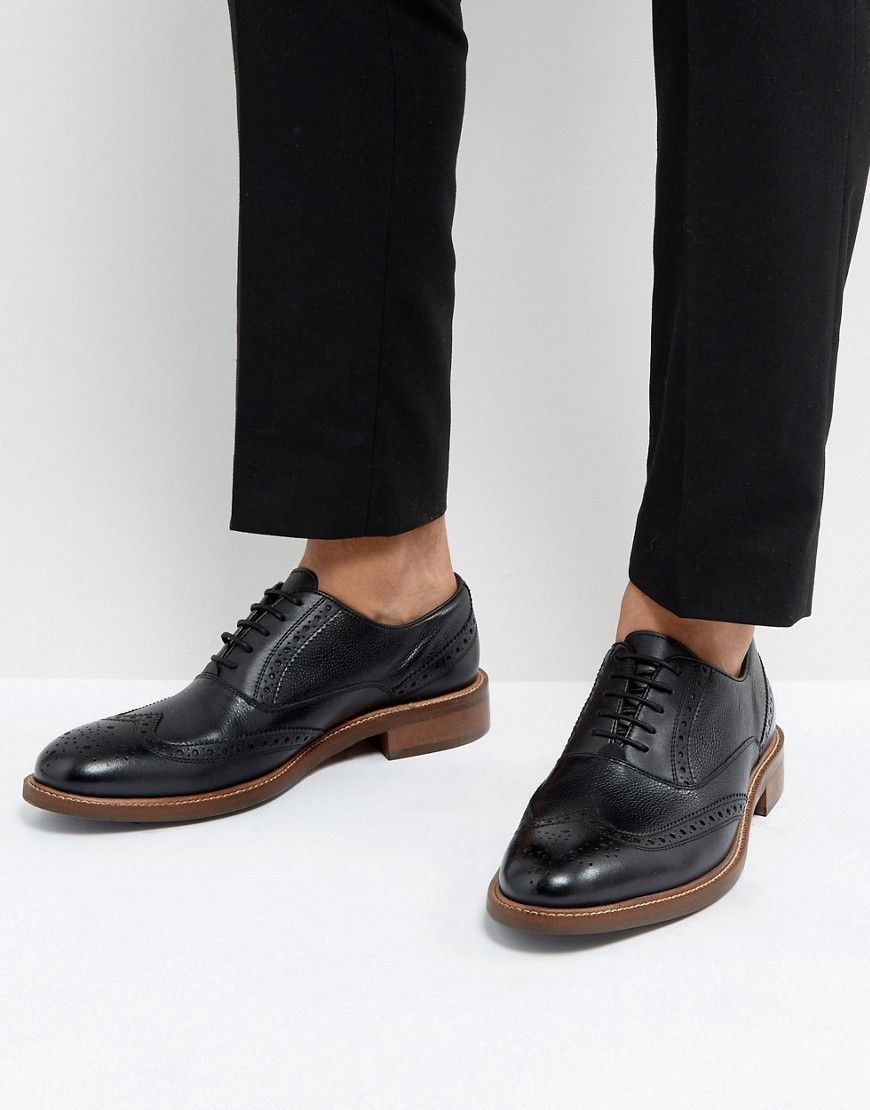 Pebble Brogue Boots In Black - Black Dune London 2hHWwi