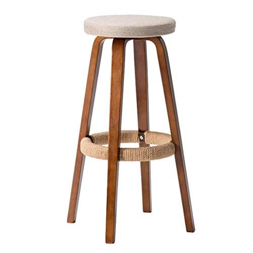 Round Barstool Wooden Household Kitchen Breakfast High Chair With Hemp Rope Footrest Modern Vintage Style Bar Stools Removable And Was Teres 3 In 2019