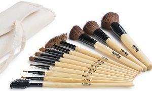 100b244cb696 Karity 12-Piece Bamboo Natural-Hair Makeup Brush Set with Roll-Up ...