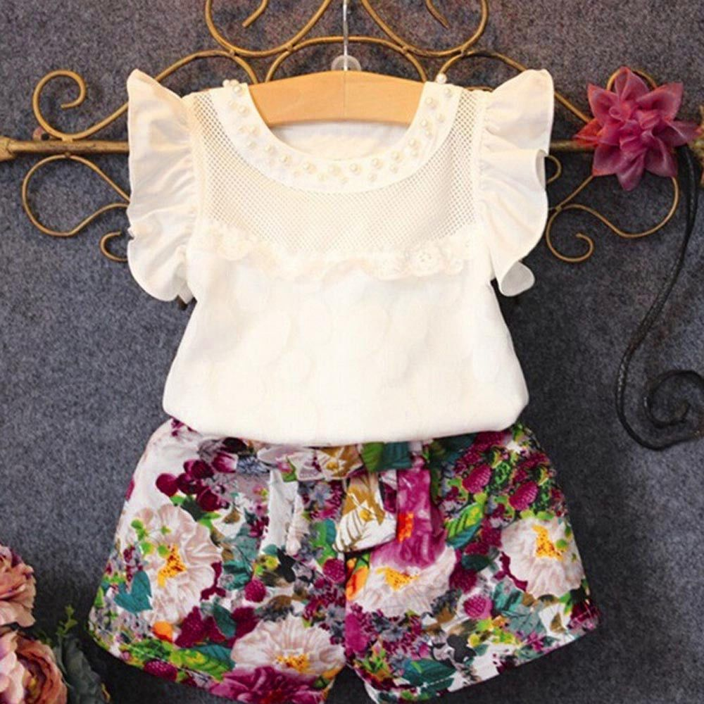 UK Newborn Kids Infant Girl Summer Clothes Ruffle Tops Shorts Dress 2PCS Outfits