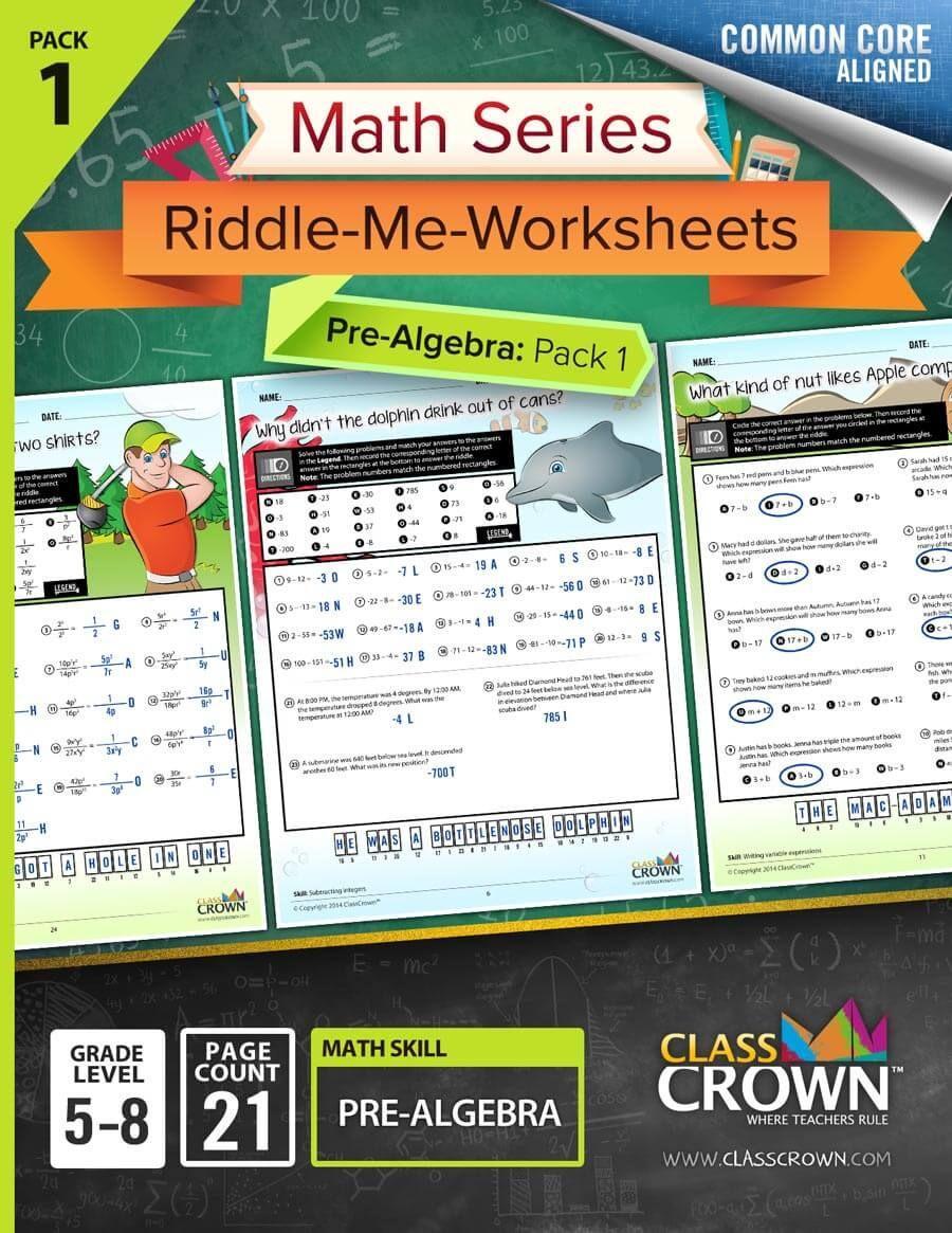 Pre Algebra Worksheets Integers Variable Expressions Math